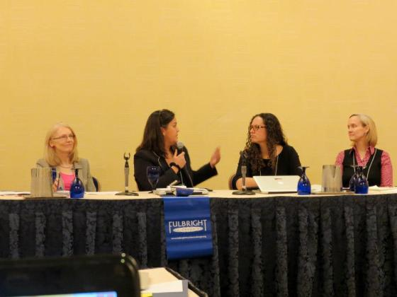 I was honored to sit on a panel moderated by Betsy Devlin-Folz of the State Department for a Distinguished Fulbright alumni conference.  From left to right: Devlin-Folz, Lori Nazareno, myself (Ileana Jiménez), and Lynn Hommeyer (photo credit: Lori Larson).