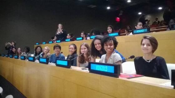 Students from my high school feminism class attended a Girls Speak Out event at the United Nations for International Day of the Girl (photo credit: Ileana Jiménez).