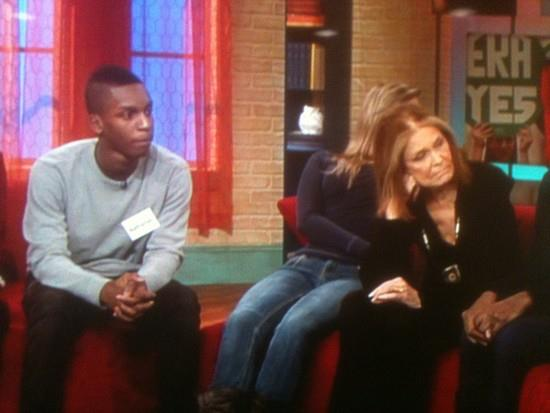 My feminism class student, Nathaniel, appeared on Nick News with Linda Ellerbee on a special episode when Gloria Steinem was also a guest to talk about the future of feminism (photo credit: Ileana Jiménez).