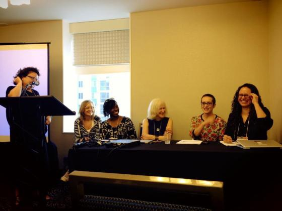 Last spring, I presented with four professors from the Institute of Education in London and Cardiff University in Wales at AERA's annual conference (left to right: Marnina Gonick, moderator; Jessica Ringrose (IOE); Victoria Showunmi (IOE); Miriam David (IOE); Emma Renold (Cardiff); and myself, Ileana Jiménez (photo credit: AERA).