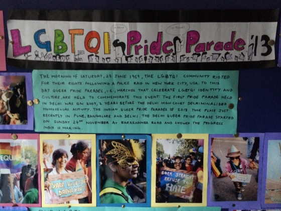 Breaking Barriers has a prominent bulletin board located at the front of the school featuring their LGBTQI activism (photo credit: Ileana Jiménez).
