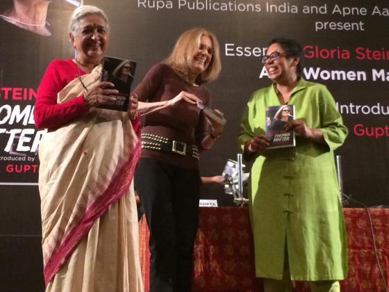 Indian feminists Devaki Jain (left) and Ruchira Gupta (right) celebrate Gloria Steinem's new book (photo credit: Ileana Jiménez).