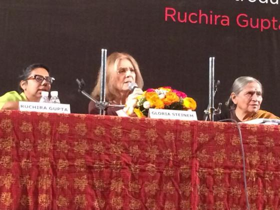 Gloria Steinem spoke at the India International Center in January to launch her book tour (photo credit: Ileana Jiménez, Feminist Teacher).