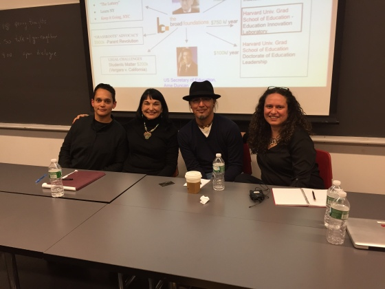 I sat on an anti-privatization panel with Sarah Rodriguez, Antonia Darder, and José Gonzalez at the Barnard Center for Research on Women Scholar & Feminist Conference in February (photo courtesy Ileana Jiménez).